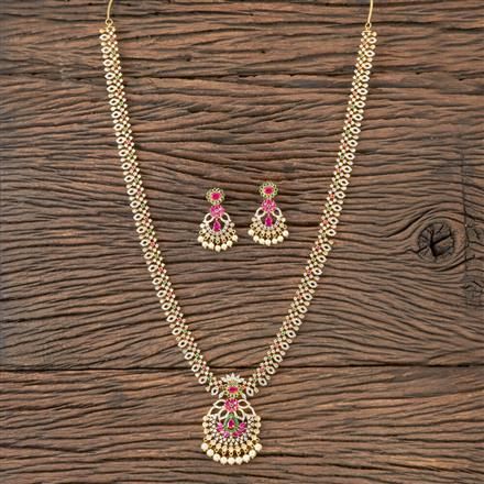 407134 Cz Long Necklace With Gold Plating