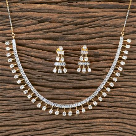 407157 Cz Classic Necklace With 2 Tone Plating