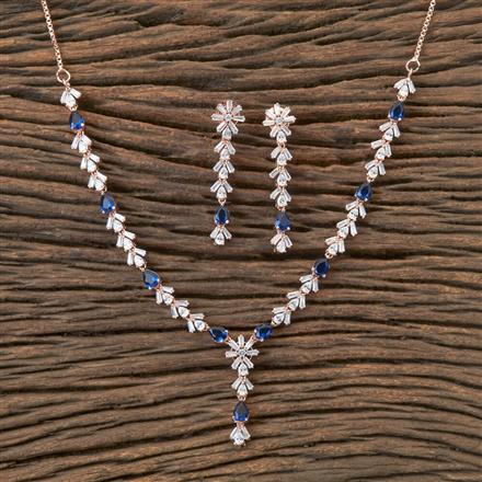 407168 Cz Classic Necklace With Rose Gold Plating