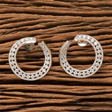 407690 Cz Chand Earring With Rhodium Plating