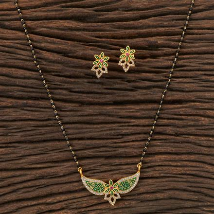 408044 Cz Classic Mangalsutra With Gold Plating