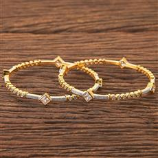 408156 Cz Classic Bangles With 2 Tone Plating