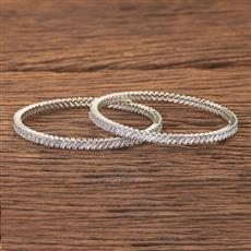 408168 Cz Classic Bangles With Rhodium Plating