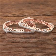 408184 Cz Classic Bangles With Rose Gold Plating