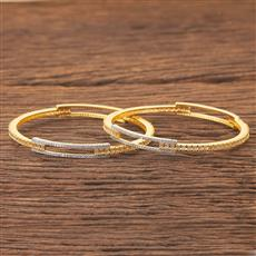 408189 Cz Classic Bangles With 2 Tone Plating