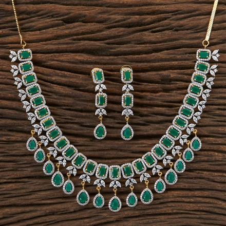 408225 Cz Classic Necklace With 2 Tone Plating