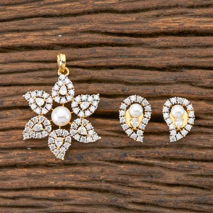 408269 Cz Classic Pendant Set With 2 Tone Plating