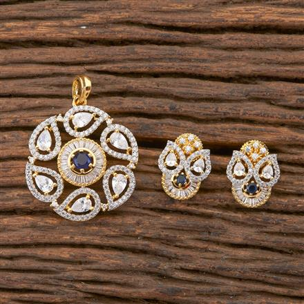 408272 Cz Classic Pendant Set With 2 Tone Plating