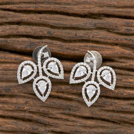 408604 Cz Short Earring With Rhodium Plating