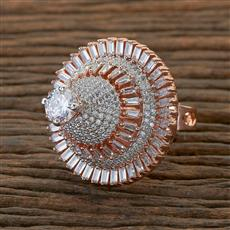 408786 Cz Classic Ring With Rose Gold Plating