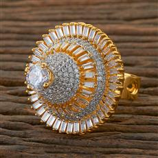 408787 Cz Classic Ring With 2 Tone Plating