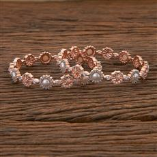 408819 Cz Classic Bangles With Rose Gold Plating