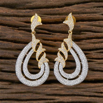 408833 Cz Classic Earring With 2 Tone Plating