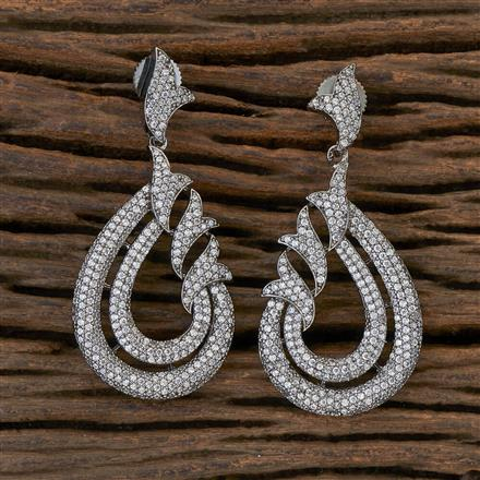 408834 Cz Classic Earring With Black Plating