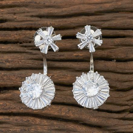 408893 Cz Front Back Earring With Rhodium Plating