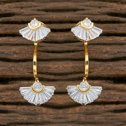 408894 Cz Front Back Earring With 2 Tone Plating
