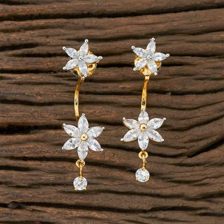 408898 Cz Front Back Earring With 2 Tone Plating
