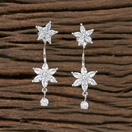 408899 Cz Front Back Earring With Rhodium Plating