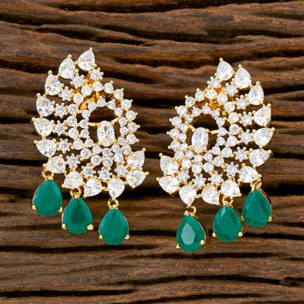 408900 Cz Short Earring With 2 Tone Plating