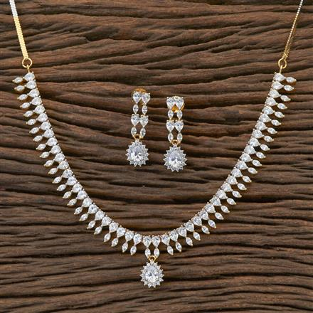 408909 Cz Classic Necklace With 2 Tone Plating