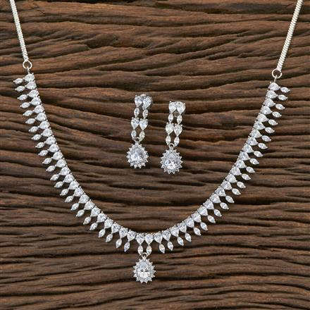 408911 Cz Classic Necklace With Rhodium Plating