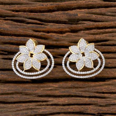 408926 Cz Short Earring With 2 Tone Plating