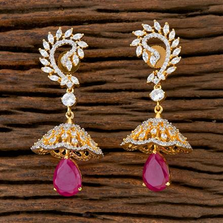 408928 Cz Jhumkis With 2 Tone Plating