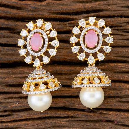 408929 Cz Jhumkis With 2 Tone Plating