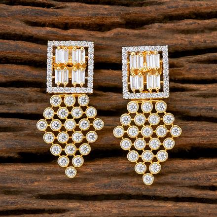 408931 Cz Short Earring With 2 Tone Plating