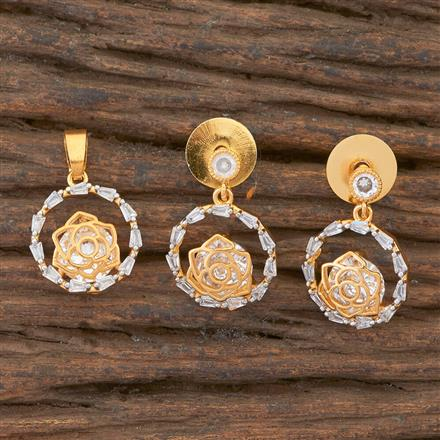 408971 Cz Delicate Pendant Set With 2 Tone Plating