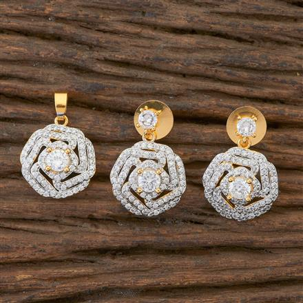 408973 Cz Delicate Pendant Set With 2 Tone Plating