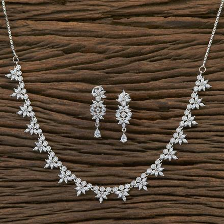 409002 Cz Delicate Necklace With Rhodium Plating