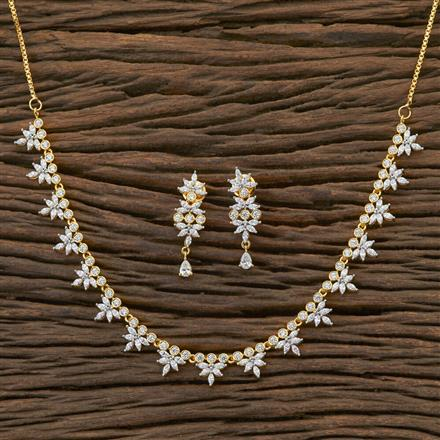 409003 Cz Delicate Necklace With 2 Tone Plating