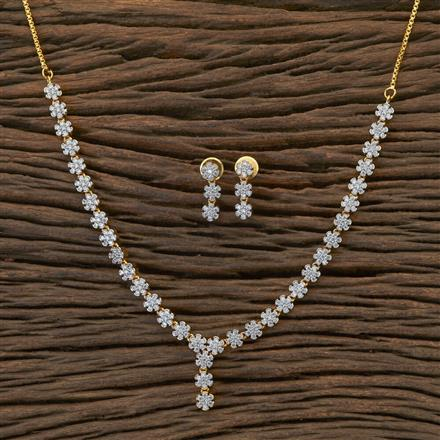 409006 Cz Delicate Necklace With 2 Tone Plating