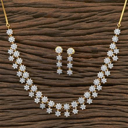 409009 Cz Delicate Necklace With 2 Tone Plating