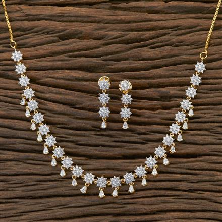 409018 Cz Delicate Necklace With 2 Tone Plating