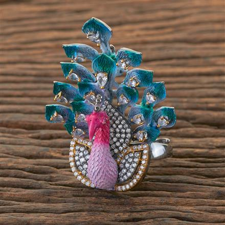 409020 Cz Peacock Ring With Black Plating