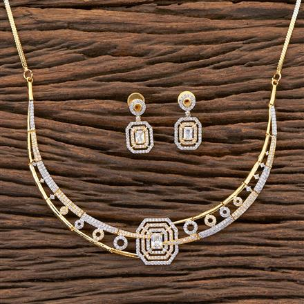 409042 Cz Classic Necklace With 2 Tone Plating