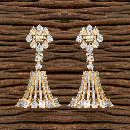 409114 Cz Jhumkis With 2 Tone Plating