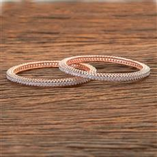 409120 Cz Classic Bangles With Rose Gold Plating