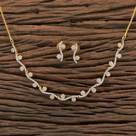 409211 Cz Classic Necklace With 2 Tone Plating