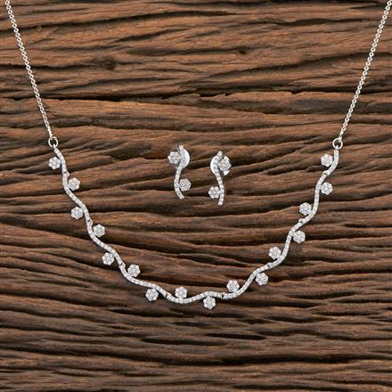 409213 Cz Classic Necklace With Rhodium Plating