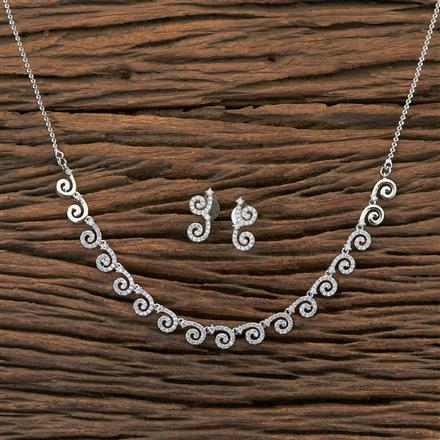 409225 Cz Classic Necklace With Rhodium Plating