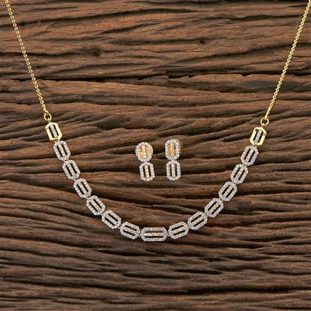 409226 Cz Classic Necklace With 2 Tone Plating