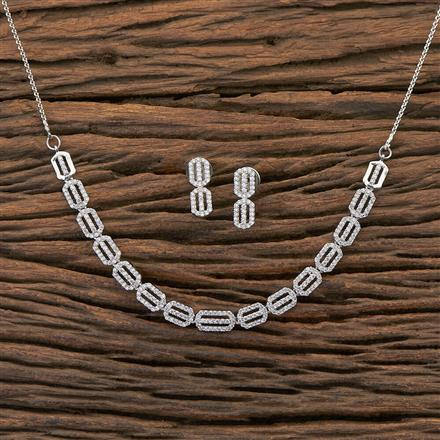 409228 Cz Classic Necklace With Rhodium Plating