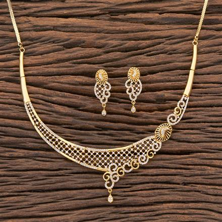 409281 Cz Classic Necklace With Gold Plating