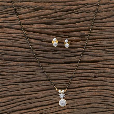 409352 Cz Delicate Mangalsutra With 2 Tone Plating