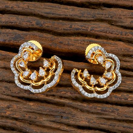409471 CZ Chand Earring with 2 tone plating