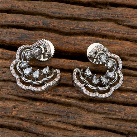409472 CZ Chand Earring with black rose plating