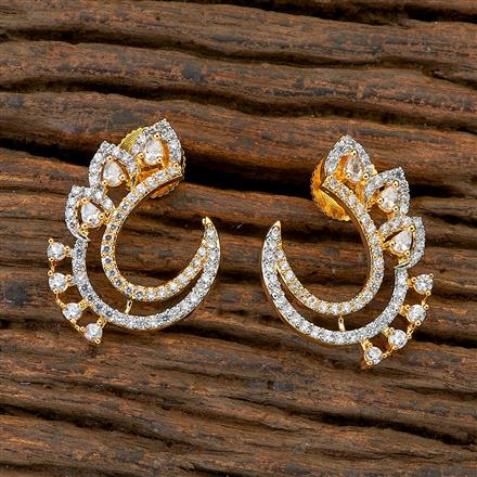 409473 CZ Chand Earring with 2 tone plating